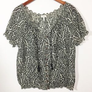 Joie Libby Silk Blend Boho Top in Caviar Size S